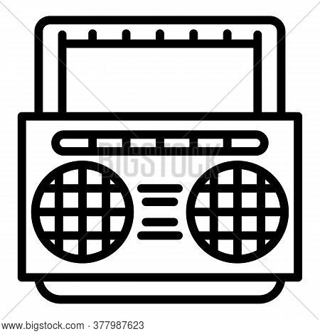 Portable Boombox Icon. Outline Portable Boombox Vector Icon For Web Design Isolated On White Backgro