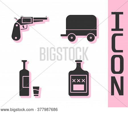 Set Whiskey Bottle, Revolver Gun, Whiskey Bottle And Glass And Wild West Covered Wagon Icon. Vector
