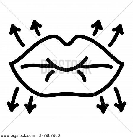 Lips Lifting Icon. Outline Lips Lifting Vector Icon For Web Design Isolated On White Background