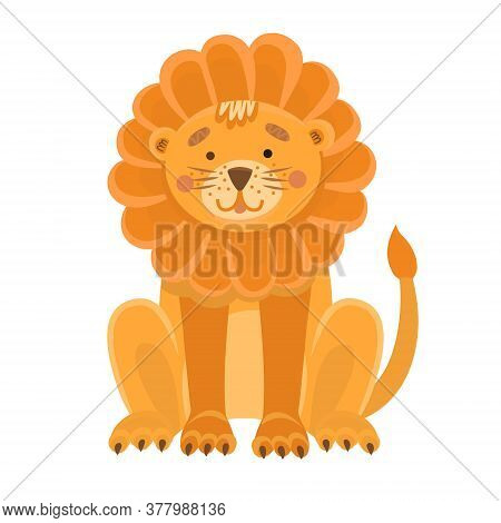 Vector Illustration Of A Cute Lion In Flat Style. Cartoon Illustration Drawn For Children. Illustrat
