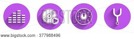 Set Music Equalizer, Vinyl Disk, Dial Knob Level Technology Settings And Musical Tuning Fork Icon Wi