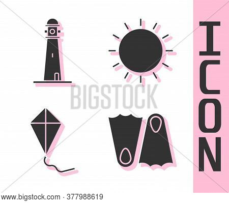 Set Rubber Flippers, Lighthouse, Kite And Sun Icon. Vector
