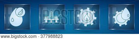 Set Bio Fuel, Oil Platform In The Sea, Oil Industrial Factory Building And Oil Industrial Factory Bu