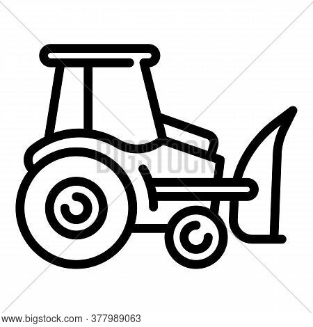 Tractor Excavator Icon. Outline Tractor Excavator Vector Icon For Web Design Isolated On White Backg