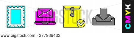 Set Postal Stamp, Laptop With Envelope, Envelope And Check Mark And Download Inbox Icon. Vector