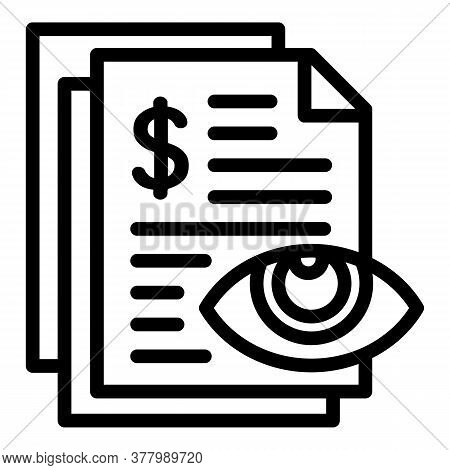 Calculate Money Paper Icon. Outline Calculate Money Paper Vector Icon For Web Design Isolated On Whi