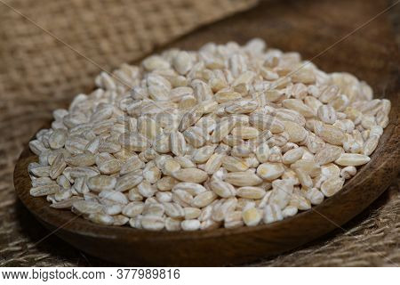 Pearl Barley With Wooden Spoon Close Up Surface Top View Background, Pearl Barley