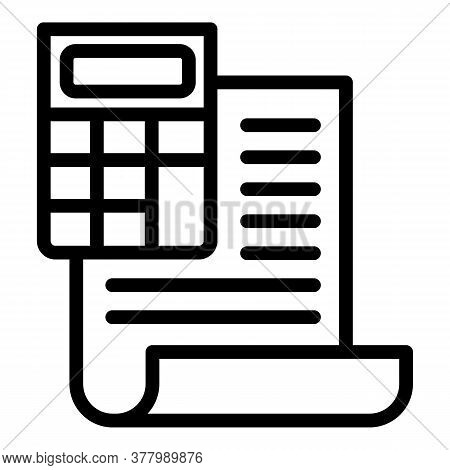 Finance Calculator Report Icon. Outline Finance Calculator Report Vector Icon For Web Design Isolate