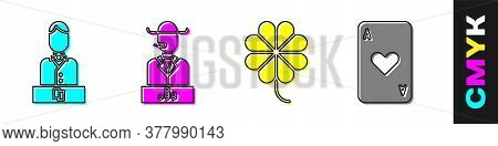 Set Casino Dealer, Poker Player, Casino Slot Machine With Clover And Playing Card With Heart Icon. V