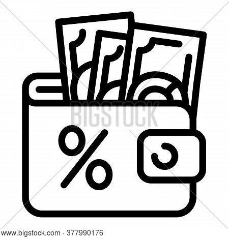 Full Money Wallet Icon. Outline Full Money Wallet Vector Icon For Web Design Isolated On White Backg