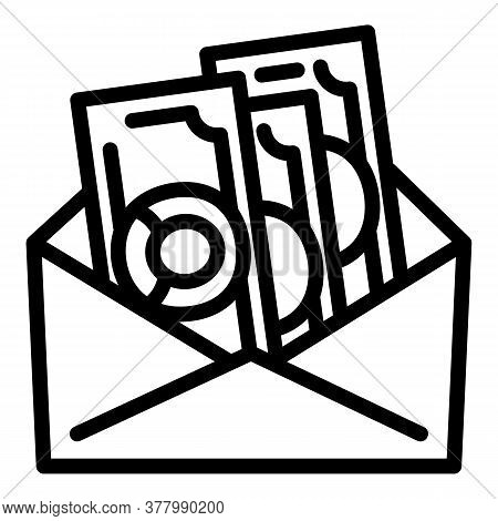 Envelope Money Cash Icon. Outline Envelope Money Cash Vector Icon For Web Design Isolated On White B