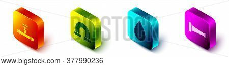 Set Isometric Industry Pipe And Valve, Industry Metallic Pipe, Water Drop And Industry Metallic Pipe
