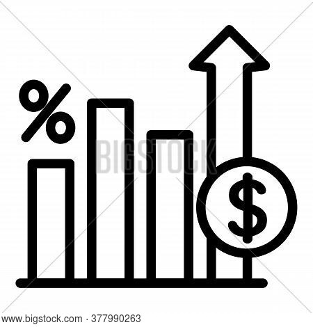 Deposit Graph Chart Icon. Outline Deposit Graph Chart Vector Icon For Web Design Isolated On White B