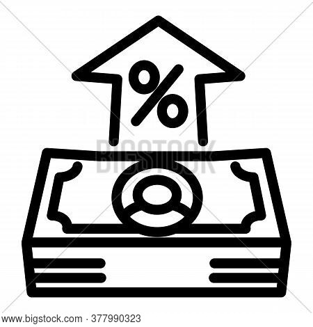 Percent Cash Money Icon. Outline Percent Cash Money Vector Icon For Web Design Isolated On White Bac