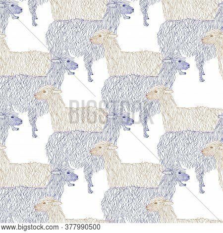 Lama, Alpaca, Guanacos Hand Drawn Pattern. Object Isolated On White.