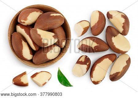 Brasil Nuts Isolated On White Background With Clipping Path And Full Depth Of Field. Top View With C