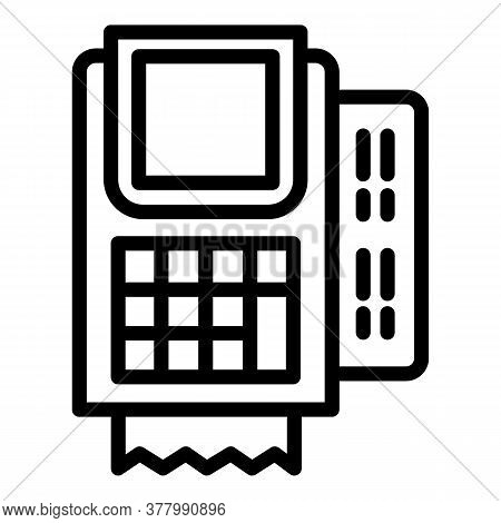 Pos Terminal Device Icon. Outline Pos Terminal Device Vector Icon For Web Design Isolated On White B
