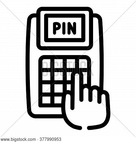 Enter Pin Terminal Icon. Outline Enter Pin Terminal Vector Icon For Web Design Isolated On White Bac