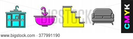 Set Washbasin Cabinet With Tap, Washbasin With Water Tap, Staircase And Sofa Icon. Vector