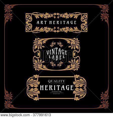 Illustration Ornament Carving Art Nouveau Style Vector Emblem For Your Businees