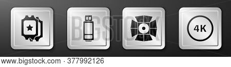 Set Cinema Ticket, Usb Flash Drive, Movie Spotlight And 4k Ultra Hd Icon. Silver Square Button. Vect