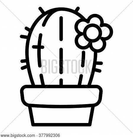Cactus Plant Pot Icon. Outline Cactus Plant Pot Vector Icon For Web Design Isolated On White Backgro