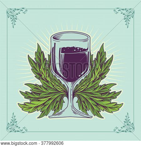 Illustration Of A Glasses Wine Purple Design Ellegant For Your Businees