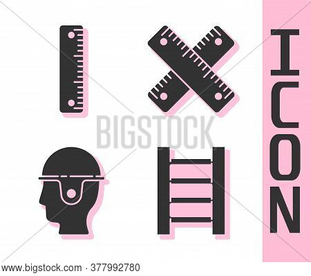Set Wooden Staircase, Ruler, Worker Safety Helmet And Crossed Ruler Icon. Vector