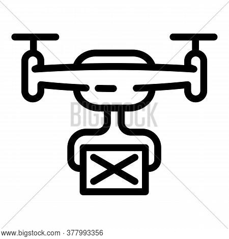 Parcel Delivery Drone Icon. Outline Parcel Delivery Drone Vector Icon For Web Design Isolated On Whi