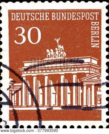 02 11 2020 Divnoe Stavropol Territory Russia The Postage Stamp Germany West Berlin 1966 Brandenburge