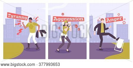 Collection Of Men And Women With Mental Disorders So As Aggression Tyranny Anger Flat Vector Illustr