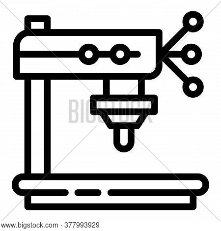 Factory Drilling Machine Icon. Outline Factory Drilling Machine Vector Icon For Web Design Isolated