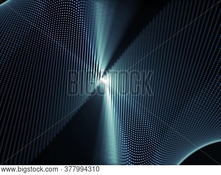3D render of a particle design with motion blur effect
