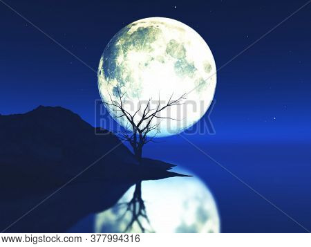 3D render of a moonlit landscape with old gnarly tree