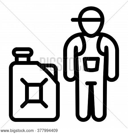 Petrol Station Worker Icon. Outline Petrol Station Worker Vector Icon For Web Design Isolated On Whi