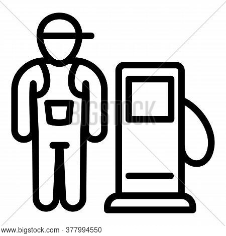 Fuel Station Worker Icon. Outline Fuel Station Worker Vector Icon For Web Design Isolated On White B
