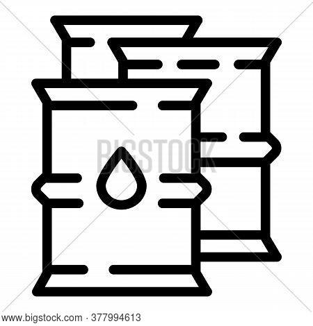 Oil Steel Barrels Icon. Outline Oil Steel Barrels Vector Icon For Web Design Isolated On White Backg
