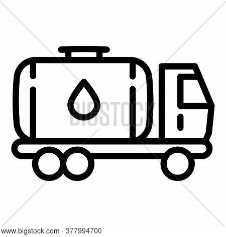 Oil Tank Truck Icon. Outline Oil Tank Truck Vector Icon For Web Design Isolated On White Background