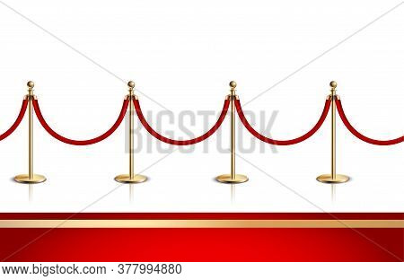 Colored And Realistic Red Carpet Composition With Red And Gold Carpet And Gold Rope Barrier Vector I