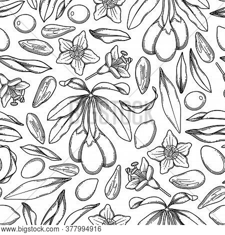 Seamless Pattern Of Graphic Goji Berries Flowers And Leaves.