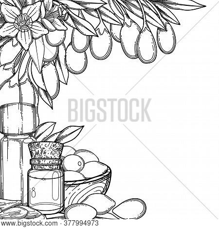 Graphic Essential Oil Bottles Decorated With Goji Berries, Leaves And Flowers.