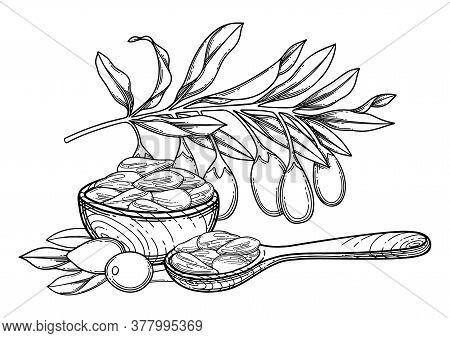 Graphic Composition Of Goji Berries, Leaves, Wooden Bowl And Spoon
