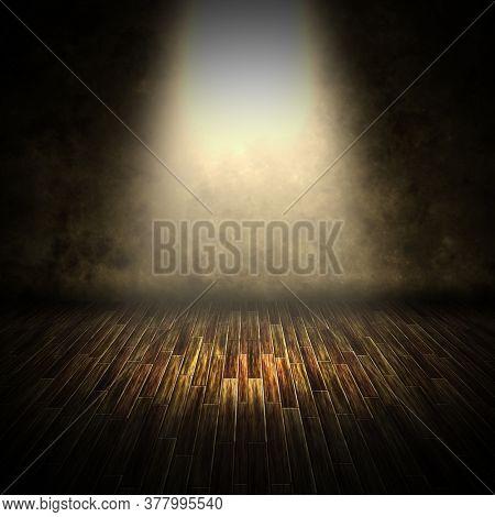 3D render of a dark interior with spotlight shining down