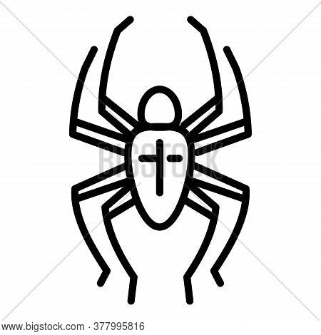 Cross Spider Icon. Outline Cross Spider Vector Icon For Web Design Isolated On White Background