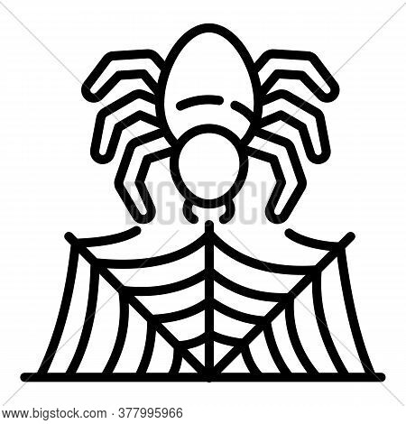 Spider Making Web Icon. Outline Spider Making Web Vector Icon For Web Design Isolated On White Backg