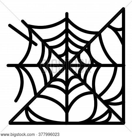 Spider Web Icon. Outline Spider Web Vector Icon For Web Design Isolated On White Background