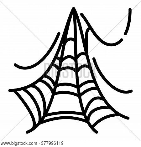 Long Spider Web Icon. Outline Long Spider Web Vector Icon For Web Design Isolated On White Backgroun
