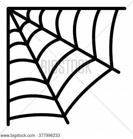 Corner Spider Web Icon. Outline Corner Spider Web Vector Icon For Web Design Isolated On White Backg