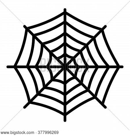 Round Spider Web Icon. Outline Round Spider Web Vector Icon For Web Design Isolated On White Backgro