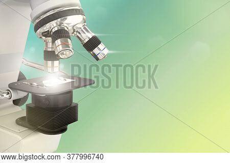 Chemical Discovery Concept, Object 3d Illustration Of Lab Hi-tech Scientific Microscope With Flare O